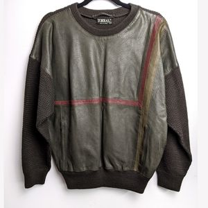 Vintage Torras wool and leather sweater